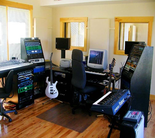 Squam Sound recording studio: Control Room, can also comfortably accommodate several players going direct.