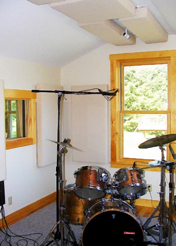 Squam Sound recording studio: Room A, for drums ensembles, etc.